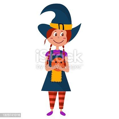 istock Halloween kid girl character. Happy Halloween. Child in colorful Halloween costume of witch. Girl hold pumpkin. Cartoon vector illustration 1323741016