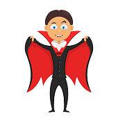 Halloween kid in costume of vampire