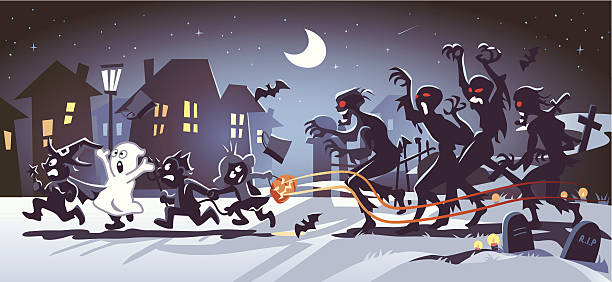 Halloween Kids Chased by Zombies Four kids in Halloween costumes being chased by scary red-eyed zombies coming from a graveyard. In the background the moon shines over a small town. EPS 8, Fully editable and all labeled in layers.  + Download includes a high resolution jpeg (7000x 3224 px)  Related images:  [url=http://www.istockphoto.com/file_closeup.php?id=17511806][img]http://i.istockimg.com/file_thumbview_approve/17511806/1/17511806-17511806-halloween-kids.jpg[/img][/url] [url=http://www.istockphoto.com/file_closeup.php?id=17511957][img]http://i.istockimg.com/file_thumbview_approve/17511957/1/17511957-17511957-mighty-pumpkin.jpg[/img][/url] [url=stock-illustration-26780585-halloween-parchment.php][img]http://i.istockimg.com/file_thumbview_approve/26780585/1/stock-illustration-26780585-halloween-parchment.jpg[/img][/url] [url=stock-illustration-21025884-halloween-in-town.php][img]http://i.istockimg.com/file_thumbview_approve/21025884/1/stock-illustration-21025884-halloween-in-town.jpg[/img][/url] [url=/file_closeup.php?id=46840624][img]/file_thumbview_approve.php?size=1&id=46840624[/img][/url] [url=stock-illustration-21111396-halloween-candy.php][img]http://i.istockimg.com/file_thumbview_approve/21111396/1/stock-illustration-21111396-halloween-candy.jpg[/img][/url]   [url=http://www.istockphoto.com/search/lightbox/11170964#1ad014f9][IMG]http://dl.dropbox.com/u/77668653/kbeis_halloween-banner.jpg[/IMG][/url] [url=http://www.istockphoto.com/search/lightbox/13174193#d67137c][IMG]https://dl.dropboxusercontent.com/u/77668653/kbeis_family_banner-5.jpg[/IMG][/url] [url=http://www.istockphoto.com/search/lightbox/10848696#16238e61][IMG]http://dl.dropbox.com/u/77668653/kbeis_cartoons-banner.jpg[/IMG][/url] [url=http://www.istockphoto.com/search/lightbox/11421415#1f15147f][IMG]http://dl.dropbox.com/u/77668653/kbeis_x-mas-banner-1.jpg[/IMG][/url]  spooky halloween town stock illustrations