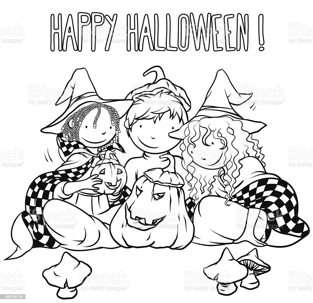 Ilustración de Halloween Niños Libro Para Colorear Página ...