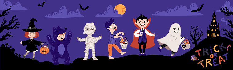 Halloween Kids Costume Party. Kids in various costumes for the holiday. Night sky background, a silhouette of a castle and cemetery. Childish illustration in cartoon hand-drawn style. Trick or Treat.