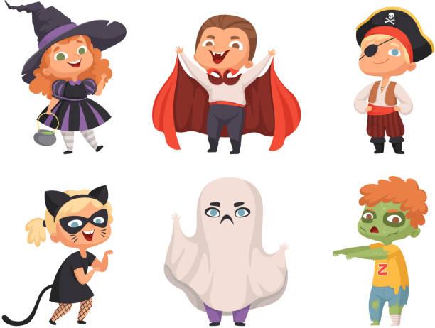 stockillustraties, clipart, cartoons en iconen met halloween kinderen. partij kinderen enge personages kostuum heks vampier vector cartoon halloween collectie - kostuum