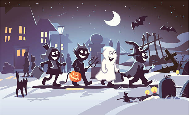 Halloween Kids Four happy kids in Halloween costumes walking to a graveyard at night. In the background the moon shines over a small town. Fully editable and all labeled in layers. spooky halloween town stock illustrations