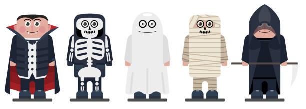 ilustrações de stock, clip art, desenhos animados e ícones de halloween kids wearing monsters costumes. happy halloween characters for your business project. halloween kids vector illustration - fantasia