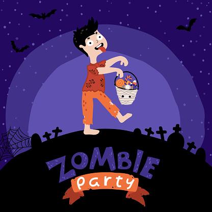 Halloween Kids Zombie fiesta. Un niño disfrazado zombi con un cubo de dulces. Fondo del cielo nocturno, la silueta del cementerio. Bonita ilustración infantil, estilo dibujado a mano de dibujos animados. Letras