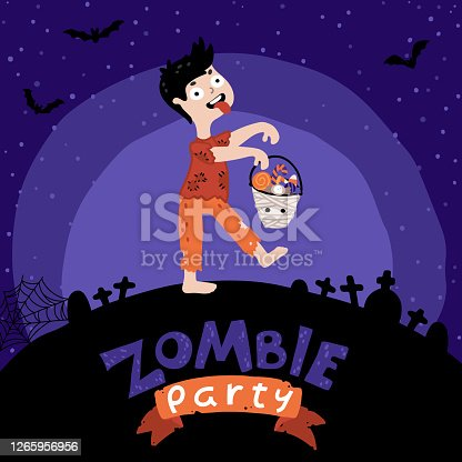 Halloween Kids Zombie party. A Kid in costume zombie with a bucket of sweets. Night sky background, the silhouette of the cemetery. Cute childish illustration, cartoon hand-drawn style. Lettering