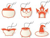 Set of six halloween labels with witch hat, pumpkin, bat, owl, castle and pan