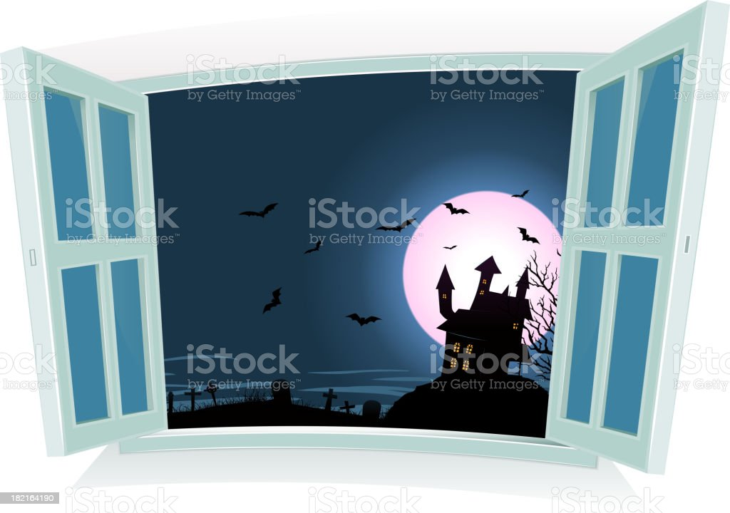 Halloween Landscape By The Window royalty-free stock vector art