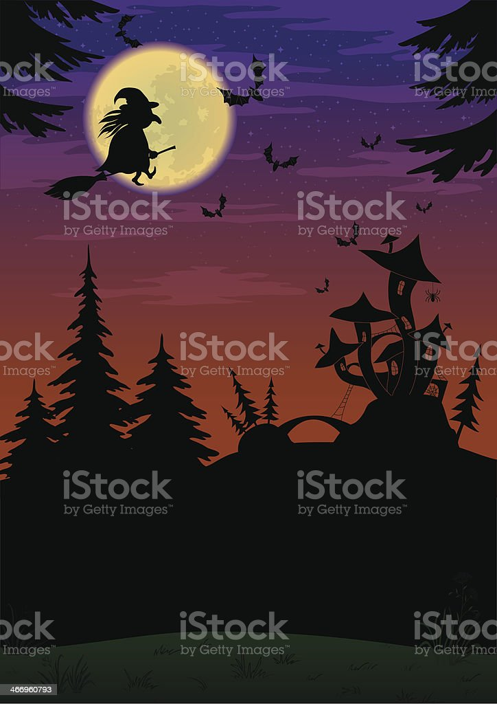 Halloween landscape with witch royalty-free stock vector art