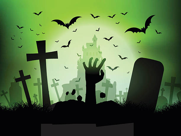 Halloween landscape with zombie hand in graveyard Halloween landscape with zombie hand coming out of a grave scary halloween scene silhouettes stock illustrations