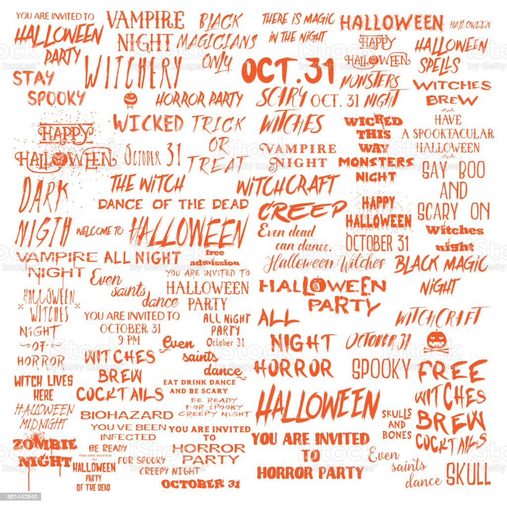 Halloween Lettering Phrases Overlay Set Scary Quotes Spooky Holiday  Typography Calligraphy Photo Graphic And Flyer Invitation Design Element  Hand Made Signs ...