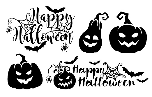 Halloween lettering poster and Pumpkins