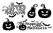 Vector illustration of the Halloween lettering poster .