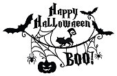 Vector illustration of the lettering poster Happy Halloween