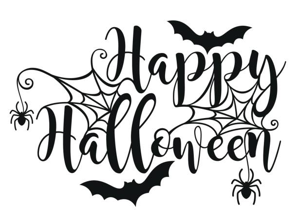 halloween lettering poster. - halloween stock illustrations, clip art, cartoons, & icons