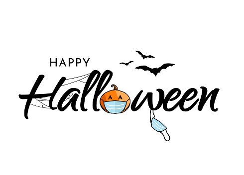 Halloween lettering with bats and pumpkin wearing mask. Vector