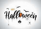 istock Halloween lettering with flying bats, pumpkin, spider. Vector 1182706757