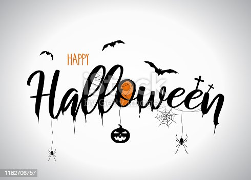Halloween lettering with flying bats, pumpkin, spider. Vector illustration. EPS10