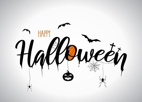 Halloween lettering with flying bats, pumpkin, spider. Vector