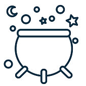 Halloween Line Icon - Cauldron