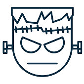 Halloween Line Icon - Frankenstein