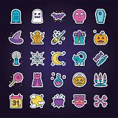 A simple halloween line icon set.