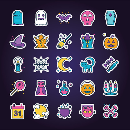 Halloween Line Icon Set