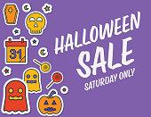 Halloween Line Icon Sticker Background