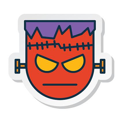 Halloween Line Icon Sticker Frankenstein Monster
