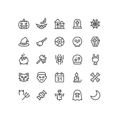 Halloween Line Icons Editable Stroke
