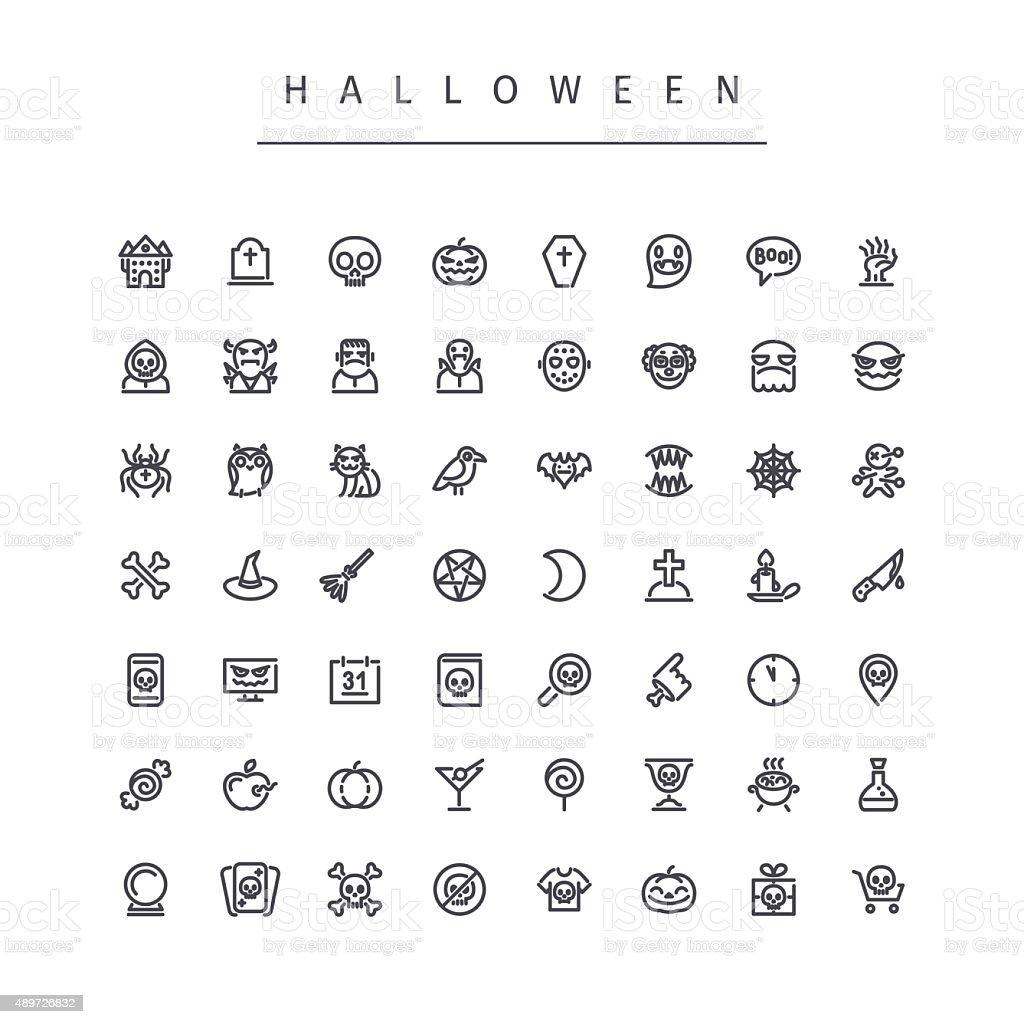 Halloween Line Icons Set vector art illustration