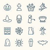 Halloween decoration line vector icon set