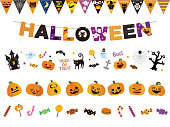 It is an illustration of a Halloween line set.