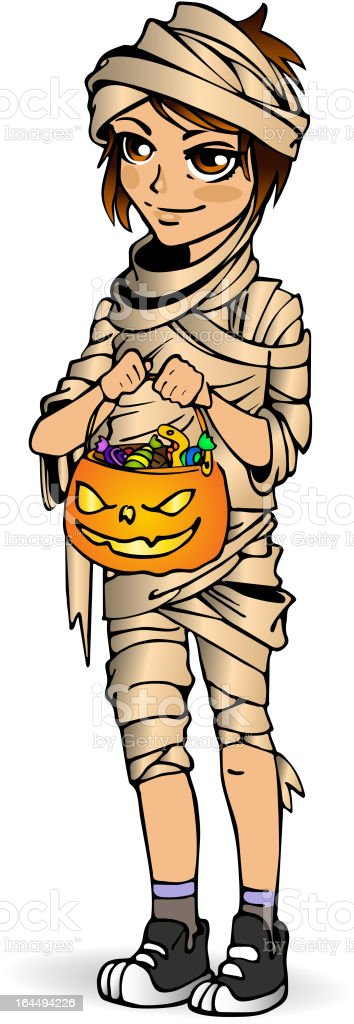 Halloween little boy mummy with candy royalty-free stock vector art