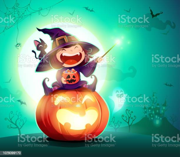 Halloween little witch girl kid in halloween costume sits on a giant vector id1029099170?b=1&k=6&m=1029099170&s=612x612&h=nyzgdtsmrvd2zihj2fcz3fvrg99t6ydhhj4wv mbjm8=