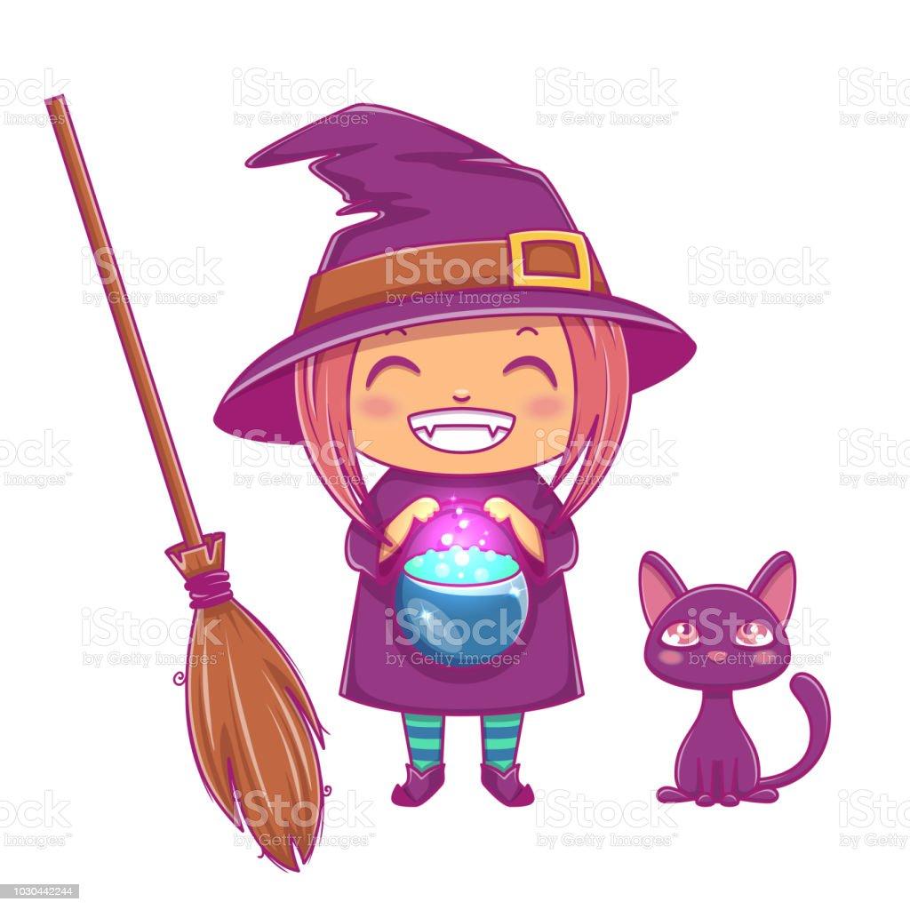 Halloween Witch Peu Kid Fille Avec Visage En Costume Dhalloween De