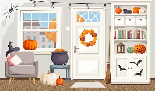 Halloween living room interior. Vector illustration.