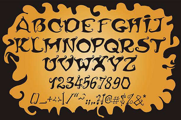 Halloween magische alphabet.  Mystic Schriftart. – Vektorgrafik