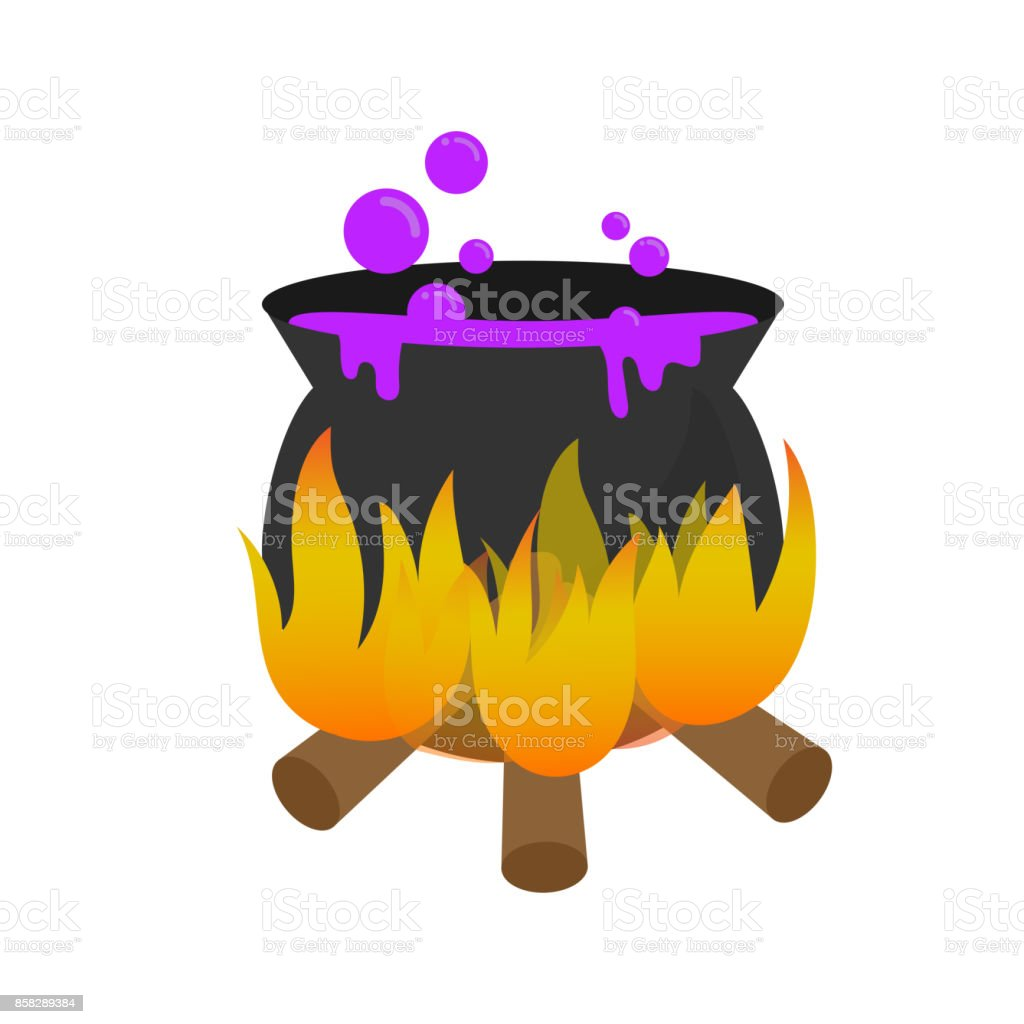 Halloween Magic Pot With Purple Poison Or Potion Design Element As
