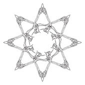 Halloween Mandala. Human hand bones arranged in an intricate gothic star shape ornament. Tattoo design. Isolated on white background. EPS10 vector illustration