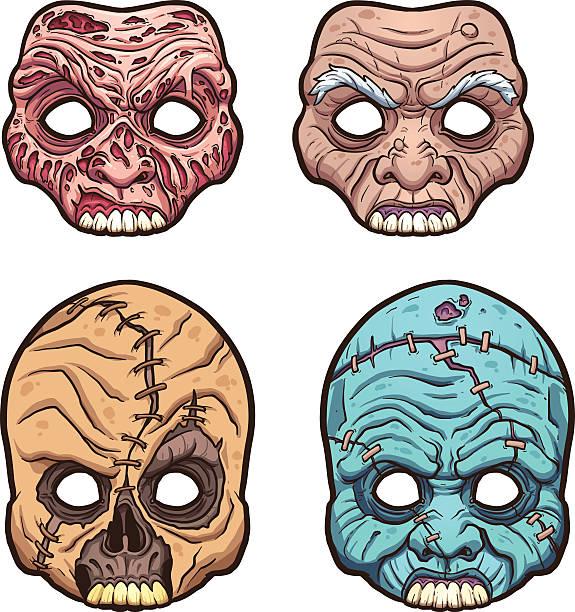 halloween masks - old man mask stock illustrations