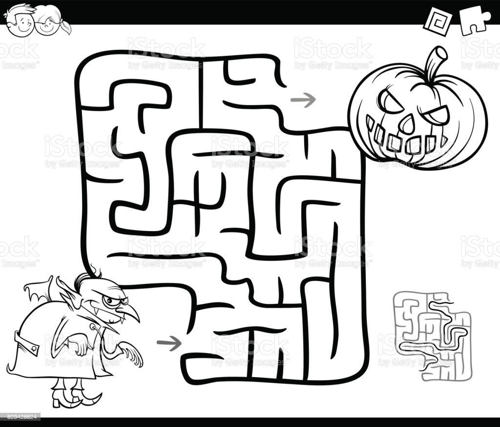 Actividad De Laberinto De Halloween Para Colorear - Arte vectorial ...