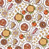 Halloween meal seamless pattern
