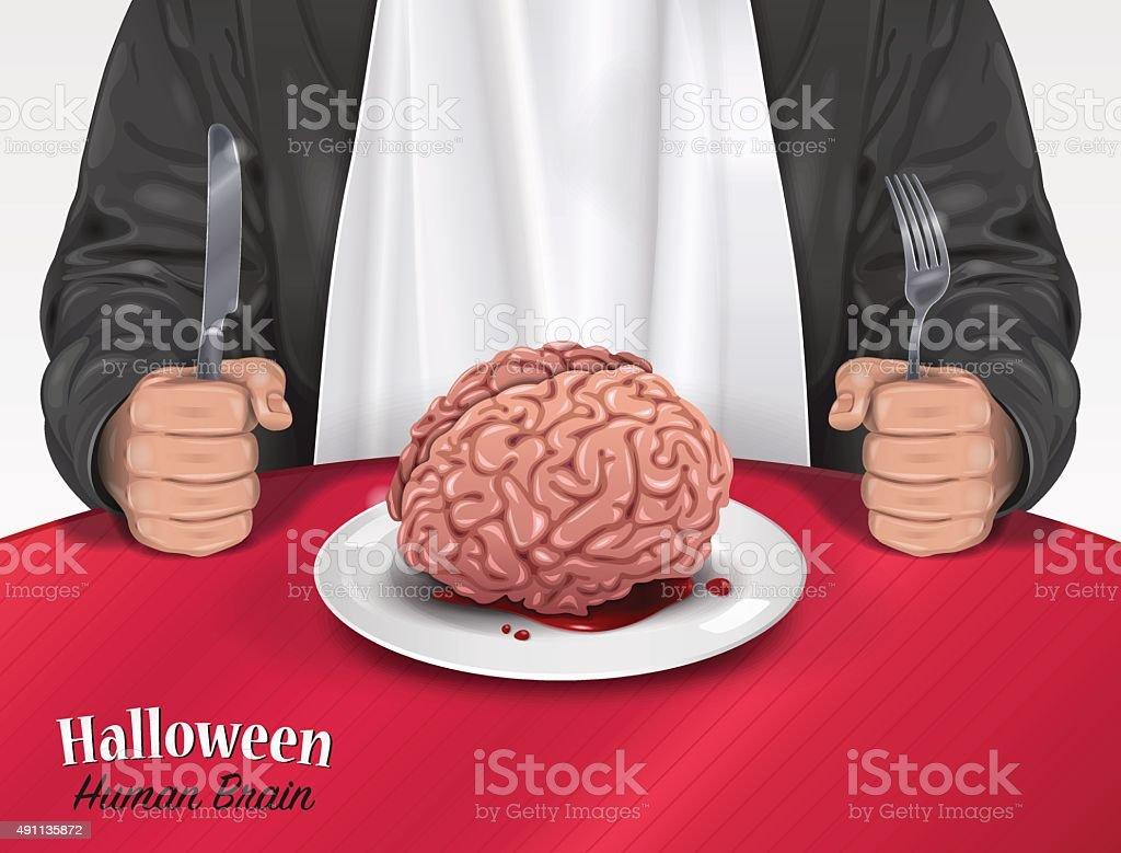Carte d'Halloween-cerveau humain - Illustration vectorielle
