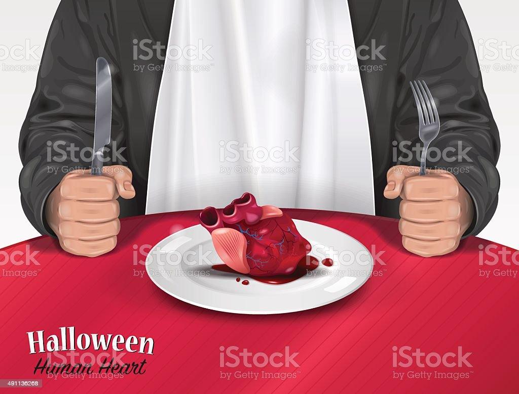 Carte d'Halloween-Coeur humain - Illustration vectorielle