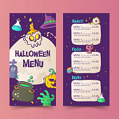 Hand-drawn Halloween menu template