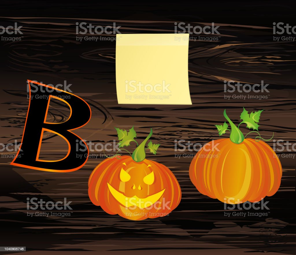 halloween message boo from pumpkins vector on wooden background