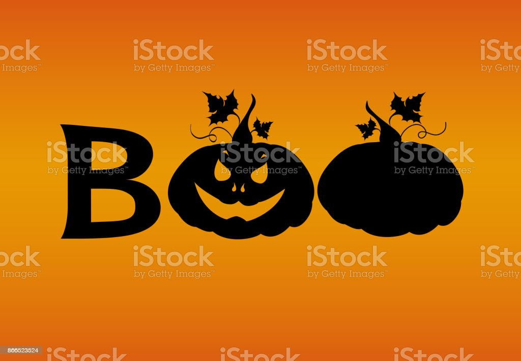 halloween message boo from pumpkins vector words for invitations to