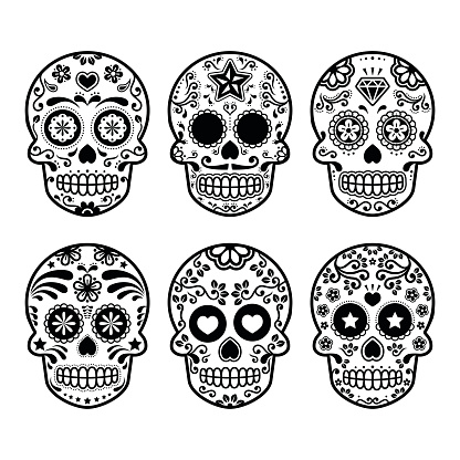 Halloween, Mexican sugar skull, Day of the Dead - cartoon icons