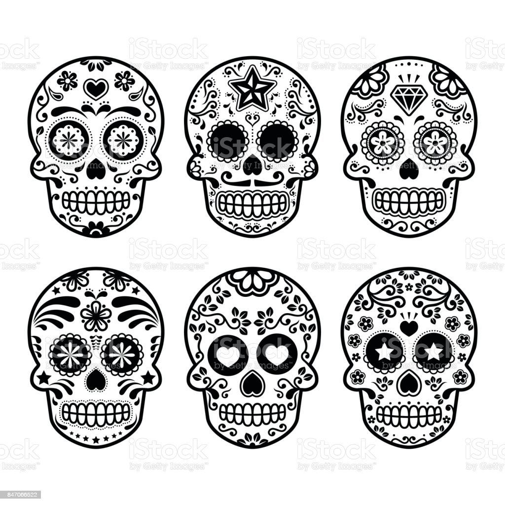 Ilustración De Halloween Calavera De Azúcar Mexicana Dia De Los